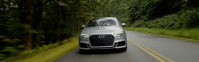 Video of the Audi A3 Sedan driving on the road.