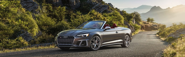 Three-quarter front profile of the Audi S5 Cabriolet parked in front of a scenic background.