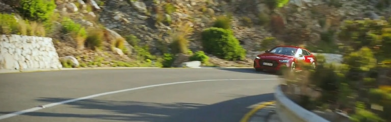 360 video of the Audi RS 7 driving on the road.