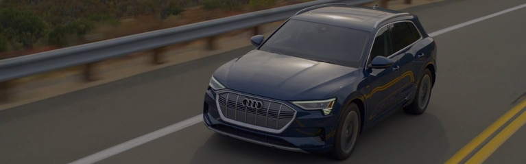 360 video of the Audi e-tron® driving on the road.